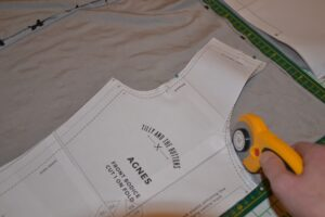 Using rotary cutter to cut out Agnes top pattern pieces