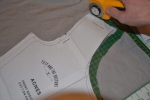Using rotary cutter to cut Agnes top pattern pieces