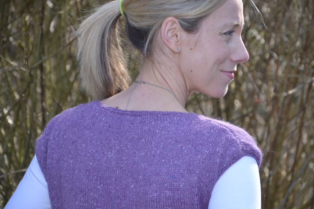 Back view of Rowan knitted top